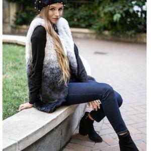 INC Womens Ombre Faux Fur Vest S/M